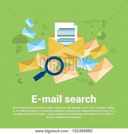 E-mail Search Digital Content Information Technology Business Web Banner Flat Vector Illustration
