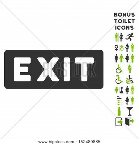 Exit Label icon and bonus man and woman restroom symbols. Vector illustration style is flat iconic bicolor symbols, eco green and gray colors, white background.