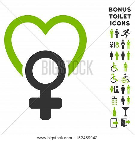Female Love icon and bonus gentleman and woman toilet symbols. Vector illustration style is flat iconic bicolor symbols, eco green and gray colors, white background.