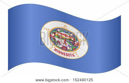 Minnesotan official flag symbol. American patriotic element. USA banner. United States of America background. Flag of the US state of Minnesota waving on white background vector