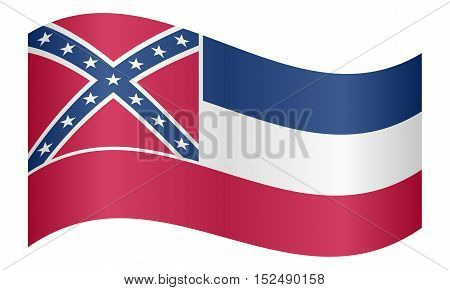 Mississippian official flag symbol. American patriotic element. USA banner. United States of America background. Flag of the US state of Mississippi waving on white background vector