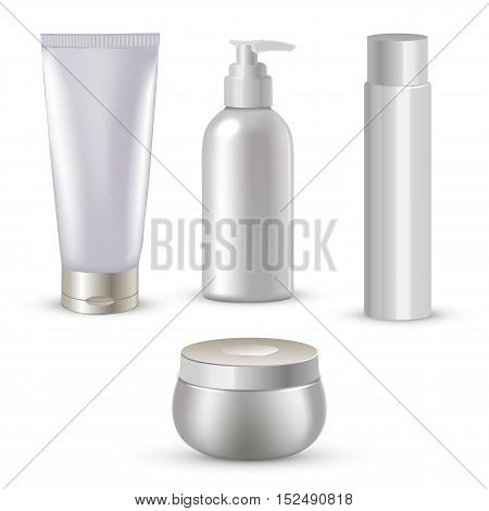 Vector illustration of Blank cosmetic package collection set isolated on white background.