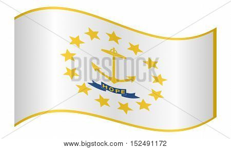 Rhode Islander official flag symbol. American patriotic element. USA banner. United States of America background. Flag of the US state of Rhode Island waving on white background vector