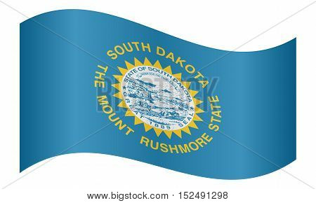 South Dakotan official flag symbol. American patriotic element. USA banner. United States of America background. Flag of the US state of South Dakota waving on white background vector
