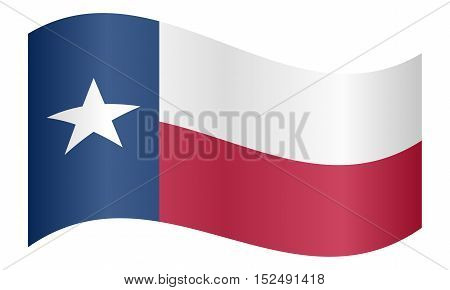 Texan official flag symbol. American patriotic element. USA banner. United States of America background. Flag of the US state of Texas waving on white background vector