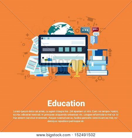 Education Online Learning Web Banner Flat Vector Illustration