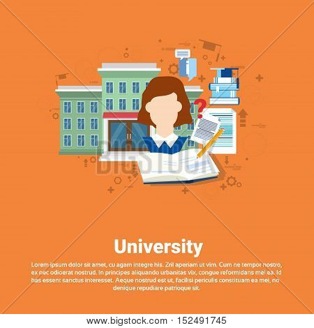Education University Studying Web Banner Flat Vector Illustration