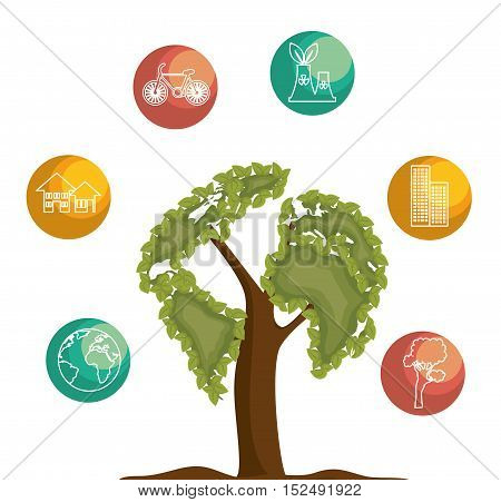 tree icon ecology save the world vector illustration eps 10
