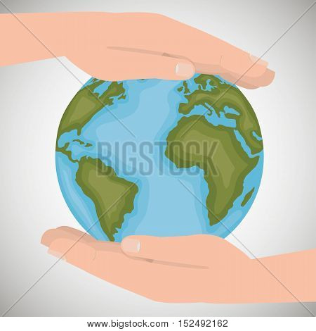 environmental protection save the world hands around earth vector illustration eps 10