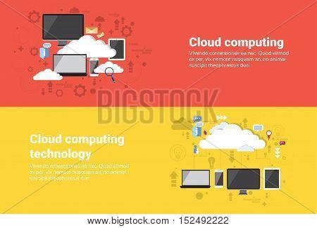 Cloud Computing Database Services Web Technology Banner Flat Vector Illustration