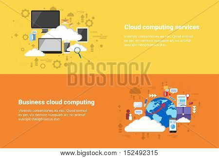 Business Cloud Computing Database Services Web Technology Banner Flat Vector Illustration