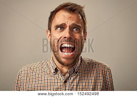 Scared man face.