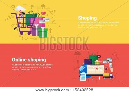 Online Shopping Delivery Transaction Web Banner Flat Vector Illustration