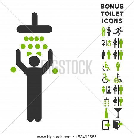 Man under Shower icon and bonus man and female lavatory symbols. Vector illustration style is flat iconic bicolor symbols, eco green and gray colors, white background.