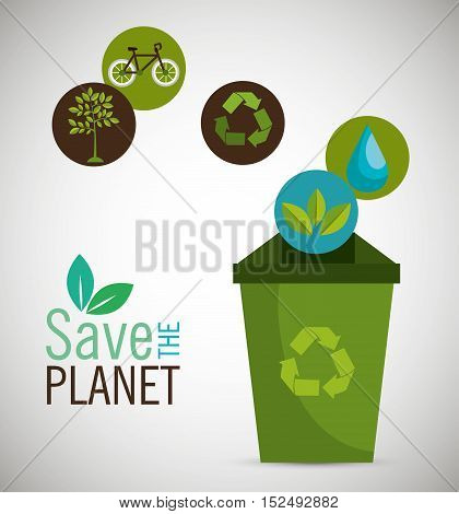 recycle save the planet icon design vector illustration eps 10