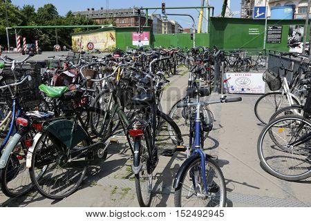 Copenhagen, Denmark - June 07, 2016: Rent a bike service