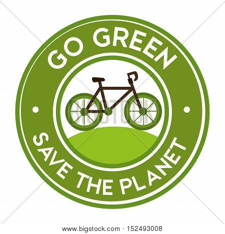 go green save the planet bike icon sticker vector illustration eps 10