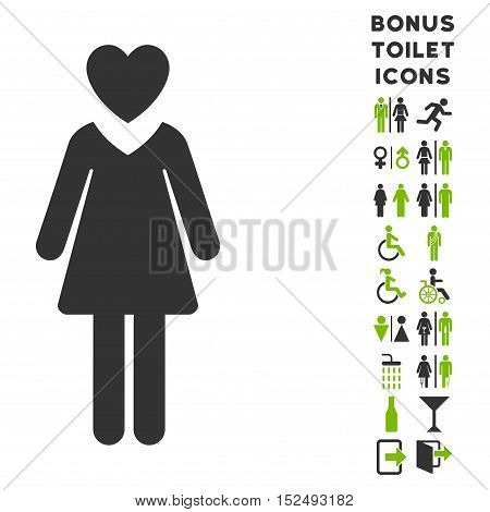 Mistress icon and bonus male and lady toilet symbols. Vector illustration style is flat iconic bicolor symbols, eco green and gray colors, white background.