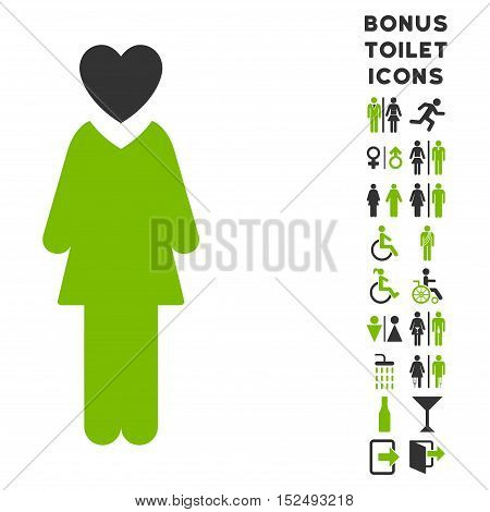 Mistress icon and bonus gentleman and female WC symbols. Vector illustration style is flat iconic bicolor symbols, eco green and gray colors, white background.