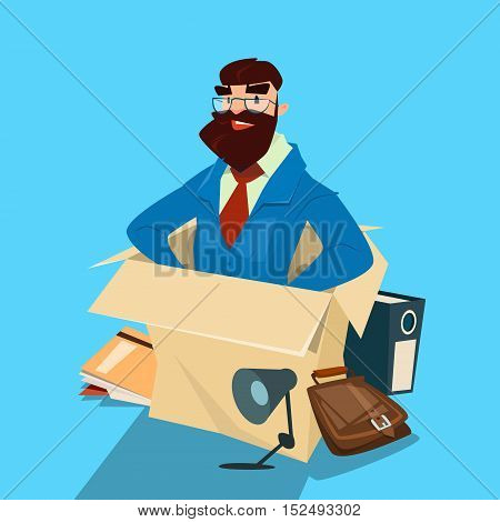 Cartoon Business Man Sit In Box Businessman Human Resources Flat Vector Illustration