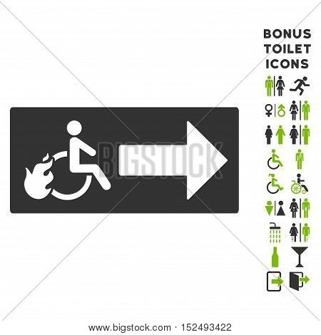 Patient Exit icon and bonus male and female restroom symbols. Vector illustration style is flat iconic bicolor symbols, eco green and gray colors, white background.