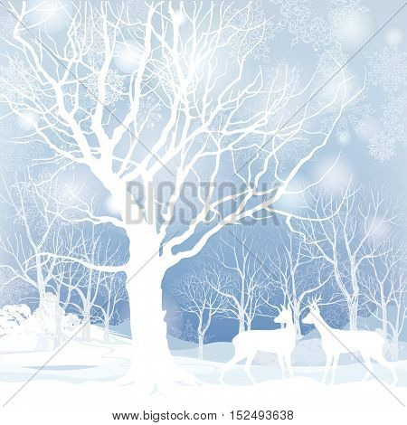 Snow winter landscape with two deers. Merry Christmas illustration of winter forest. Snowfall holiday background.