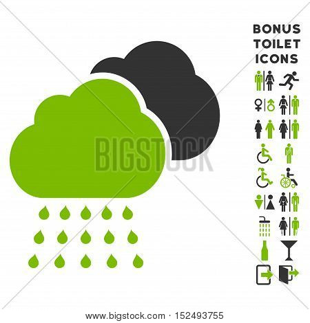 Rain Clouds icon and bonus gentleman and woman toilet symbols. Vector illustration style is flat iconic bicolor symbols, eco green and gray colors, white background.