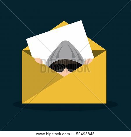 hacker email message secure icon vector illustration eps 10