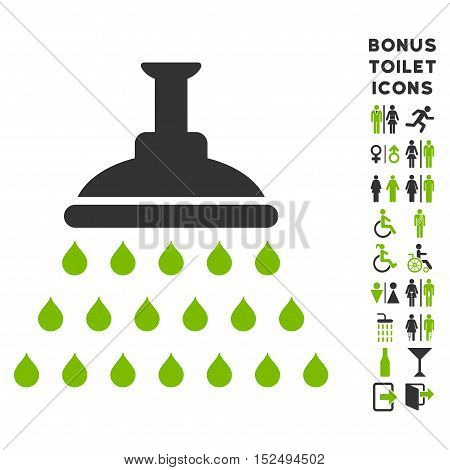 Shower icon and bonus man and woman toilet symbols. Vector illustration style is flat iconic bicolor symbols, eco green and gray colors, white background.