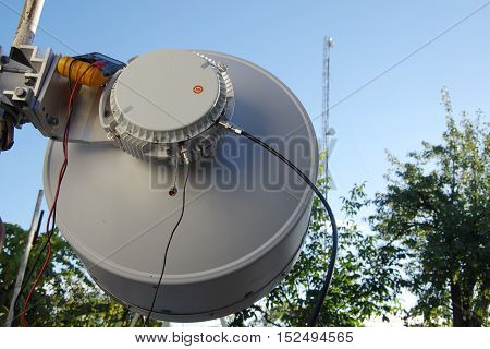 Antenna relay communication. Tower with antennas relay link.