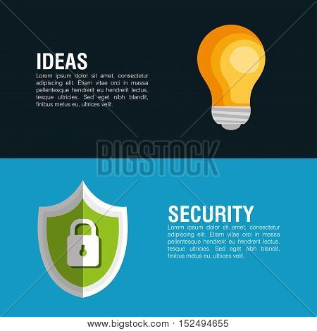 idea security system lock shield banner icon vector illustration eps 10