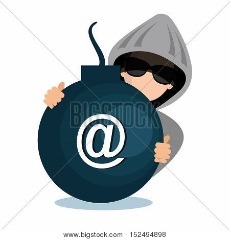 hacking data mail server icon vector illustration eps 10