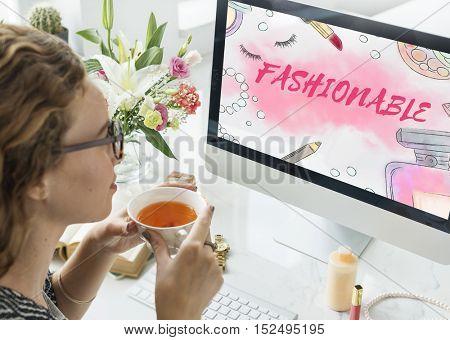 Chic Cosmetics Trendy Vogue Fashion Concept