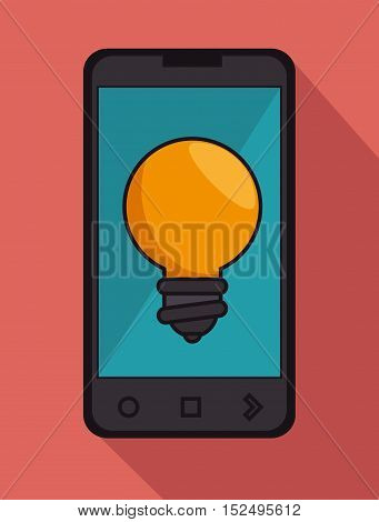 cellphone black bulb idea icon graphic vector illustration