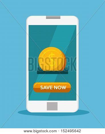 smart phone save money aplication vector illustration eps 10