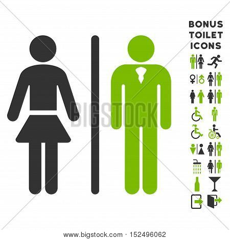 Toilet Persons icon and bonus male and female restroom symbols. Vector illustration style is flat iconic bicolor symbols, eco green and gray colors, white background.