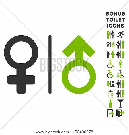 WC Gender Symbols icon and bonus male and lady restroom symbols. Vector illustration style is flat iconic bicolor symbols, eco green and gray colors, white background.