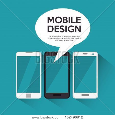 collection smartphone mobile design bubble chat blue background vector illustration eps 10