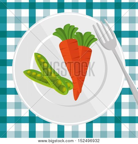 delicious plate with carrot and peas pot vector illustration eps 10