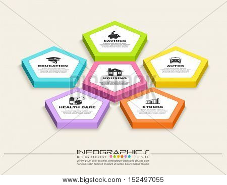 An illustration of colorful Infographic design