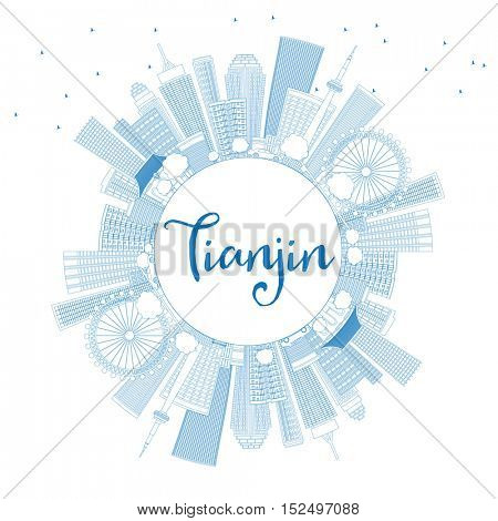 Outline Tianjin Skyline with Blue Buildings and Copy Space. Business Travel and Tourism Concept with Modern Architecture. Image for Presentation Banner Placard and Web Site.