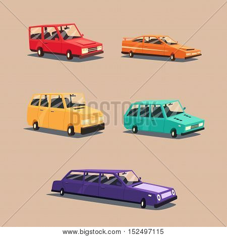 Set of vintage american automobile. Cartoon vector illustration. Car isolated. Design element.