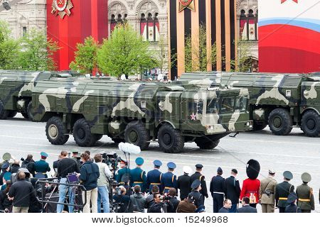 MOSCOW - MAY 6: Russian  Iskander - Tactical ballistic missile in rehearsal during 65th anniversary of Victory in Great Patriotic War Military Parade at Red Square  on May 6, 2010 in Moscow.