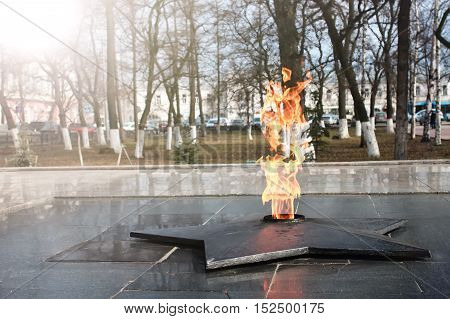 Soviet Army Monument burning flame of eternal fire in honor of the victory in World War II