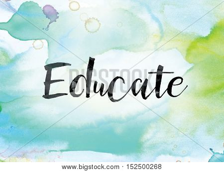 Educate Colorful Watercolor And Ink Word Art