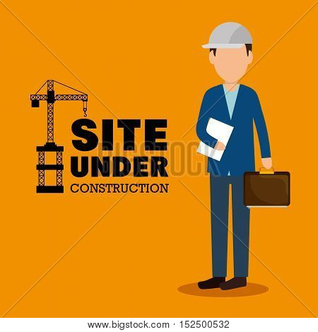 site under construction man manager icon vector illustration eps 10