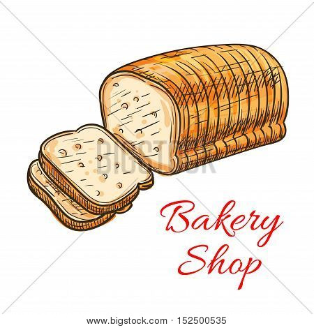 Wheat bread sketch. Fresh loaf of sliced whole grain bread for bakery and pastry shop menu, food packaging design