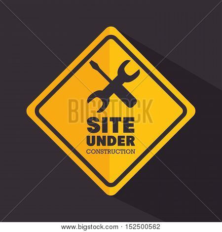 sign site under construction tools vector illustration eps 10