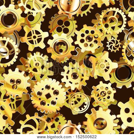 Clockwork mechanism seamless pattern with glossy golden steampunk cogwheels