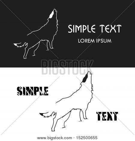 Wolf logo. Silhouette vector symbol of wolf for design company's logo, tattoo, visit card, etc. Monochrome sign of animal.